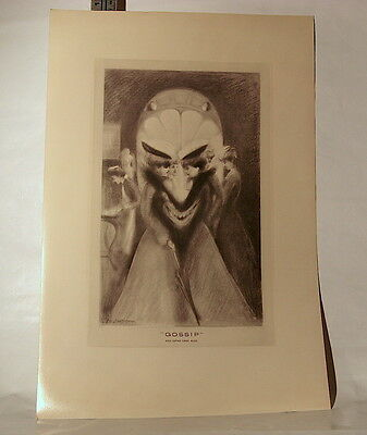 """Vintage Print A. Wotherspoon """"Gossip"""" And Satan Came Also - 11 x 17 (w/o Frame)"""
