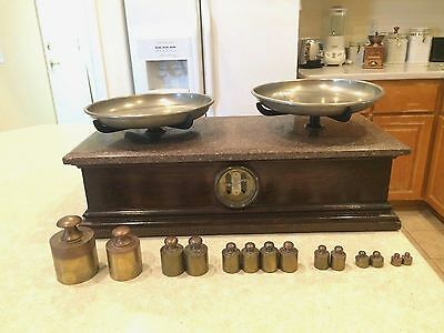 Antique Wood, Brass & Marble Henry Troemner Apothecary Scale With Weights
