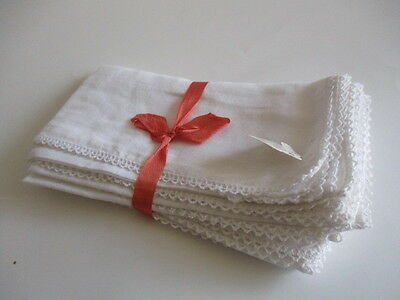 """Lot of Six White Cotton Table Napkins Approx. 15"""" x 15"""""""