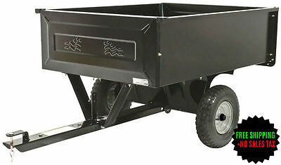 10 cu. ft. Steel Dump Cart Garden Yard Lawn Mower Tractor Trailer Attachement