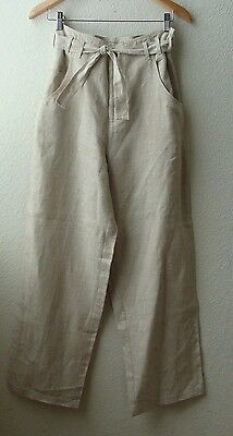 Vtg 90s LINEN tie paper bag high waist wide leg pants totokaelo trousers resort