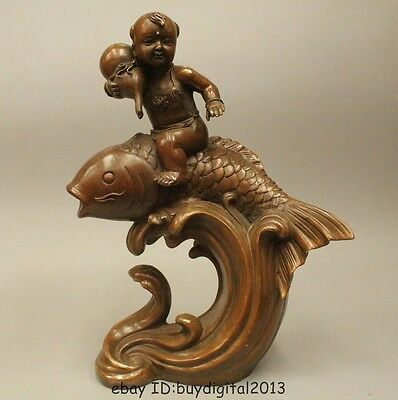 "13""Lucky Chinese Bronze Cucurbit Wealth Fu Kid With Coin Ride Year Fish Statue"