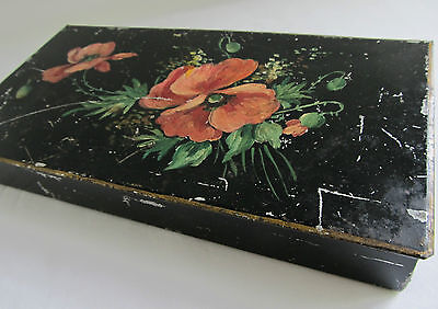 Vintage Antique Hand Painted Box Toleware w/ Hinged Top & Floral Design