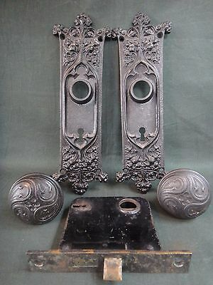 Set Antique Chicago Cast Iron Gothic Door Hardware - 2 Knobs, 2 Backplates, Lock