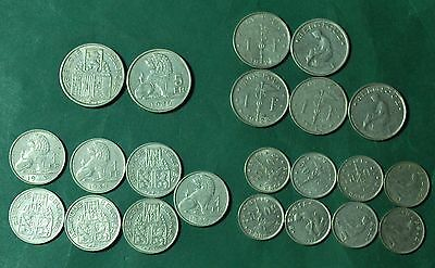 Belgium Coin Lot 5 Francs 1 Franc 50 Centimes Nickel 1922 1939 1940 Collection