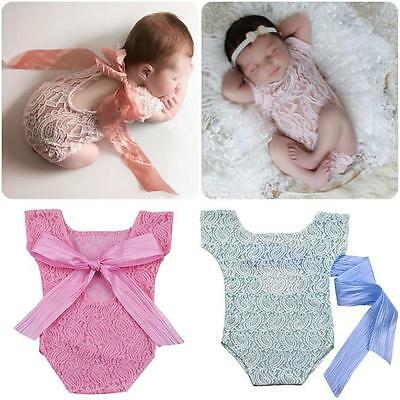 Newborn Baby Girl Lace Floral Romper Jumpsuit Bodysuit Photo Prop Clothes Outfit