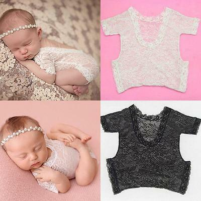 Newborn Baby Girl Lace Floral Mesh Romper Bodysuit Photo Prop Outfits Costume B