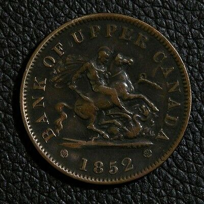 "1852 Bank of Upper Canada One Penny Token ""St George the Dragon Slayer"""