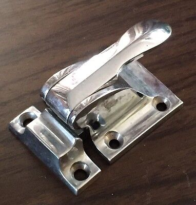 Antique Vintage Chrome Hoosier Style Spring Loaded Cabinet Latch Handle Pull