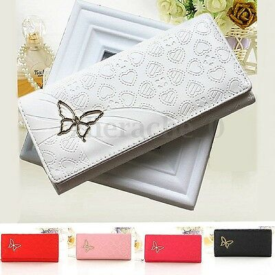 US Women Leather Butterfly Long Purse Wallet Clutch Bag Card Case Holder Handbag