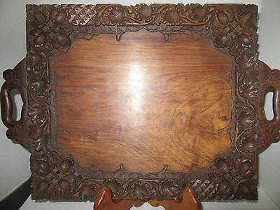 Vintage Hand Carved Wood Tray