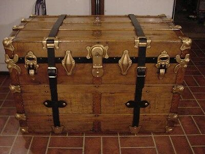 Ladycomet Victorian Refinished Flat Top Steamer Trunk Antique Chest w/Straps&Key