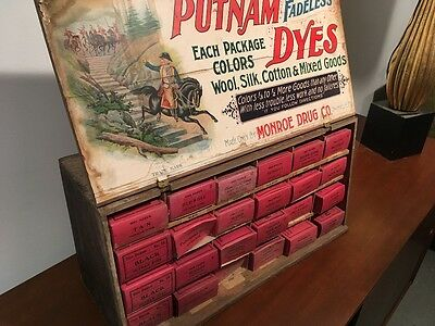 Vintage Putnam Dyes and Tints Tin & Wood Cabinet Store Display