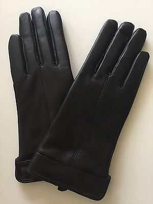 Ladies Black Leather Gloves Wool And Cashmere Lined Size M/L New Free Postage