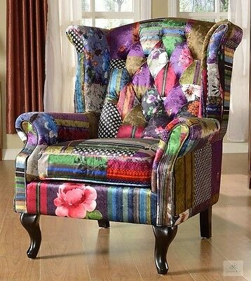 Fabric Wingback Armchair Chesterfield Fireside Chair Patchwork Living Room Seat