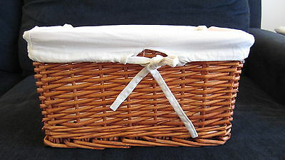 Cane Wicker Storage Basket Canvas Lined: Toys Laundry Bedroom 2