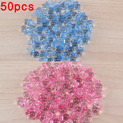 50pcs Baby Shower Party Favours Blue Pink Pacifiers Christening Cake Decorations