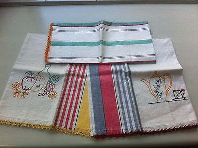 3 Retro Vintage Semco Tea towels. Hand embroidered with crochet edge Never used