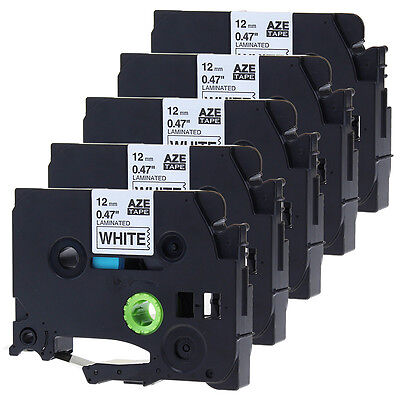 5PACK Compatible for Brother TZ231 Black on White P-Touch Label Tape TZe231 12mm