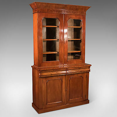 Antique Victorian English 4' Bookcase Display Cabinet Fine Flame Mahogany c1870