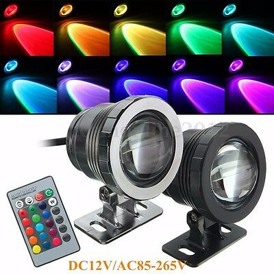 10W RGB LED Light Fountain Pool Pond Spotlight Underwater Waterproof + Remote