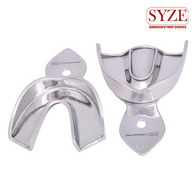 Dental Orthodontic Solid Stainless Steel XS Upper and Lower Trays Set of 2Pcs