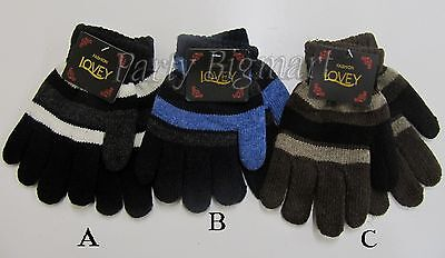 Brand New Kids Boys/Girls Winter Warm Thick Knitted Striped Glove 3 Colours-AU