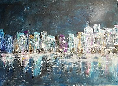 Acrylic/Oil Cityscape abstract painting new york shimmering  sky scraper US