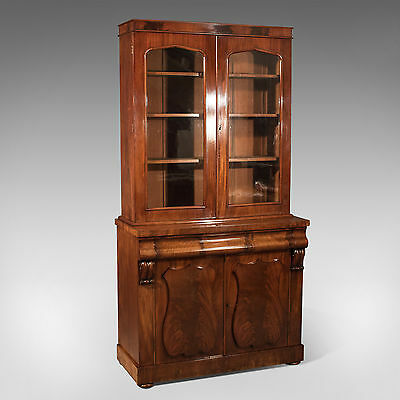 Antique Tall Victorian Flame Mahogany Bookcase With Fitted Lower Cabinet c1860
