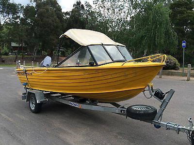 Aluminium Boat Stacer 470 Alloy Runabout  Yamaha 60Hp Outboard Mackay Trailer