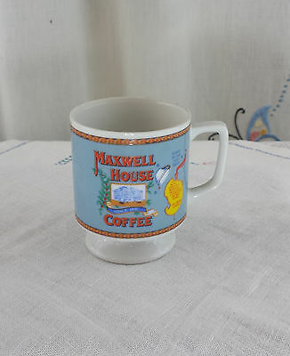 Vintage 1970's MAXWELL HOUSE FOOTED SMALL COFFEE MUG CUP GOOD TO THE LAST DROP