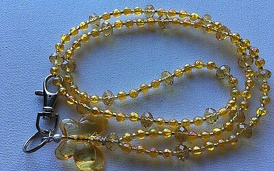 Gold Butterfly Beaded Lanyard/I.D Badge/Cruise Card/Holder