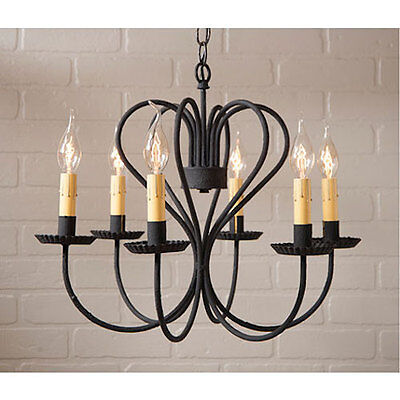 Primitive Farmhouse Vintage Rustic Large Georgetown Chandelier in Textured Black