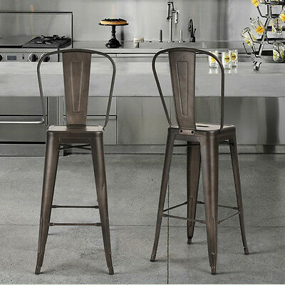 Set of 4 Gunmetal Grey Barstools Bar Height Stools Metal Chairs Home Kitchen New