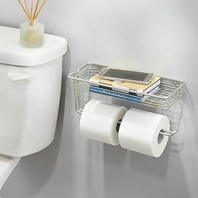Wall Mounted Bathroom Toilet Paper Roll Holder With Storage Shelf Mobiles Books