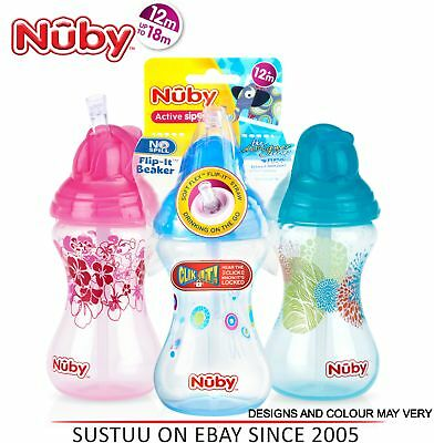 Nuby Designer Flip It Cup Baby Spill Proof with Silicon Spout Toddler Trainer