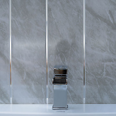 Grey Marble & Twin Chrome Strip Bathroom Wall Panels PVC Kitchen Shower Cladding