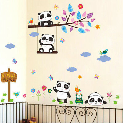 Panda Tree Branches Mural Removable Wall Stickers Decal Vinyl Kids Room Decor