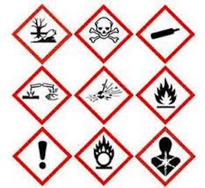 Hazard warning labels / GHS Stickers 100 x 100mm x2 or x 5Free P&P