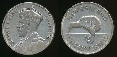 New Zealand, 1936 Florin, 2/-, George V (Silver) - Very Fine