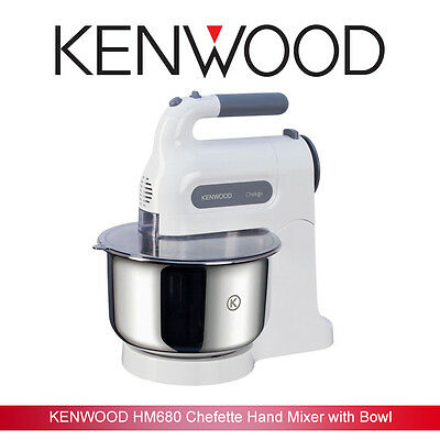 BD Kenwood HM680 Chefette Hand Mixer with Stand - White