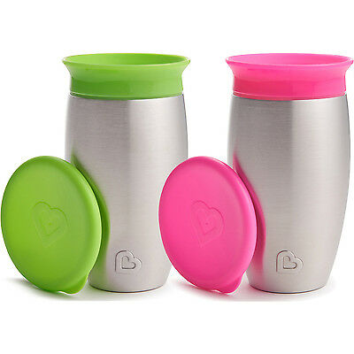 Kids Metal Cups 2 No Spill Sippy Toddler Baby Weaning Drinking Mess Free Feeding
