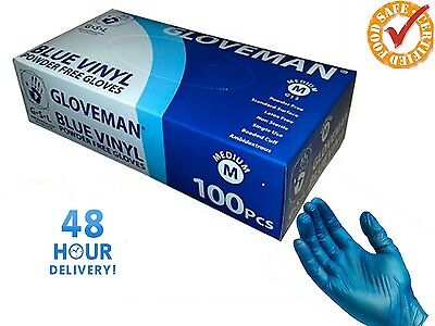 Gloveman BLUE VINYL FOOD SAFE Catering Disposable Powder Free Gloves Free P&P