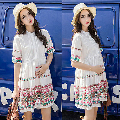 Stand-collared Dress Nursing Breastfeeding Embroidery Cute Comfy 8 10 12 14 16