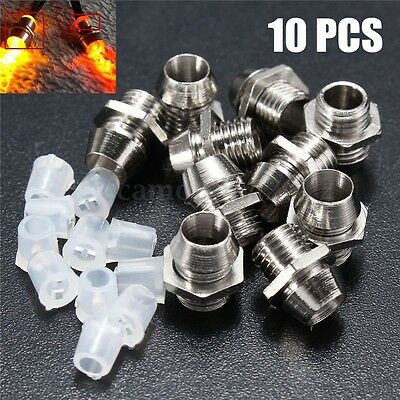 10Pcs 3MM Round Chrome Metal Plastic LED Lamp Light Emitting Diode Bezel Holder