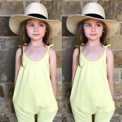 Toddler Kids Baby Girl Summer Strap Romper Jumpsuit Harem Pants Trousers Outfits