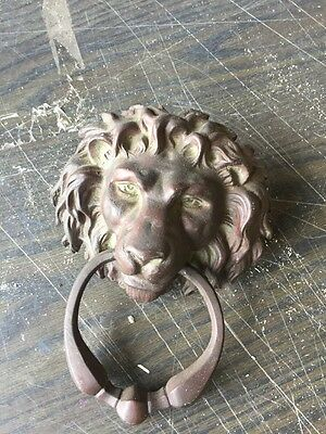 Very Attractive Antique Cast Brass Bronze Lion Face Door Knocker 5.5 W By 7.2 5H