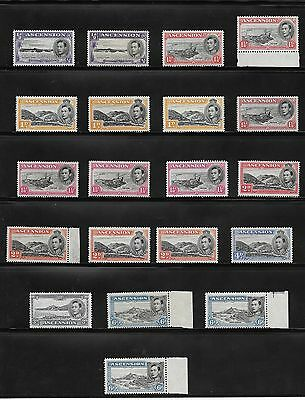 1938 Ascension Island Stamps 1/2D To 6D Unused Perf 13 / 13.5 / 14  Dif Shades