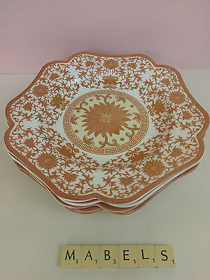 """SPODE ~INDIAN RED~ 9.5""""  salad plates x 6"""
