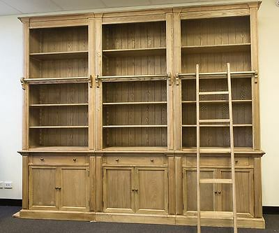 Three Bay French Provincial Style Library Bookcase with Ladder